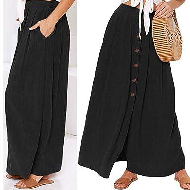 Conquro-falda Dividida en Color Liso para Mujer Easy Chic Falda ...