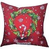 Christmas Pillow Case,Beautyvan Christmas Linen Square Throw Flax Pillow Case Decorative Cushion Pillow Cover (2~B)