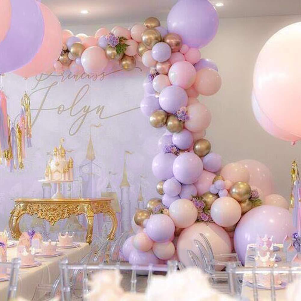 PartyWoo Globos Oro Rosa, Globos 60 Unidades Globos Rosas Globo Rosa Pastel Globos Morados Globos Dorados Globos Metalicos para Fiesta Princesas ...