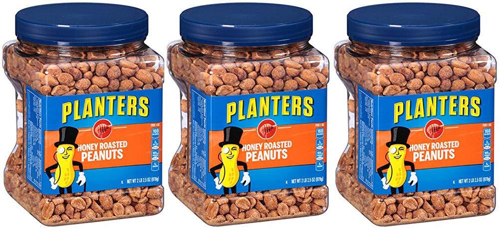 Planters Honey Roasted Peanuts, 34.5 Ounce, 6 Tubs