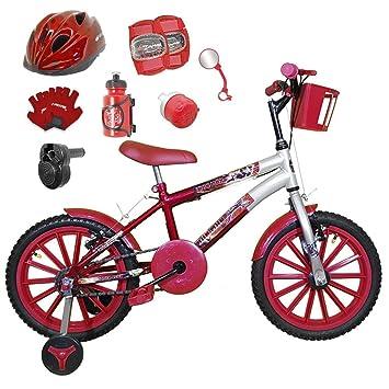 4fe6dad8a Bicicleta Infantil Aro 16 Vermelha Prata Kit Vermelho C Capacete ...