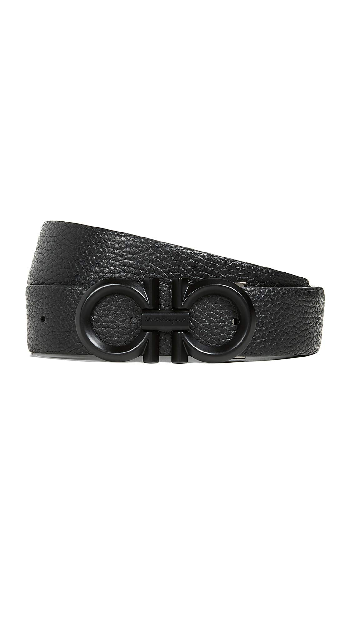 Salvatore Ferragamo Men's Double Gancio Reversible Belt, Black/Asphalt, 32