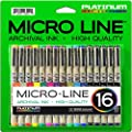 Platinum Art Supplies Micro-Line Ultra-Fine Point Ink Pens (Set Of 16) by Platinum Art Supplies