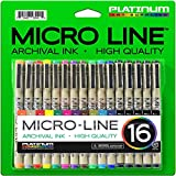 Image of Platinum Art Supplies Micro-Line Ultra-Fine Point Ink Pens (Set Of 16)