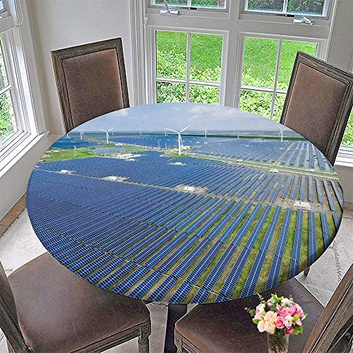 PINAFORE HOME Modern Simple Round Tablecloth Landscape with Energy Resources Sustainable Development Decoration Washable 67