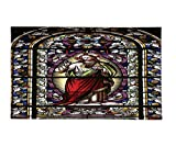 Interestlee Fleece Throw Blanket Sacred Heart of Jesus Pictures Catholic Gifts Believe Art Christian Church Cathedral Window View Silky Satin Red Black White Blue
