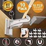10 Pack VStoy Child Safety Cupboard Locks //Child Drawer Safety Locks Strong Adhesive Baby Door Locks Safety Lock Latch for Drawer and Cabinet Door No Drilling or Tools