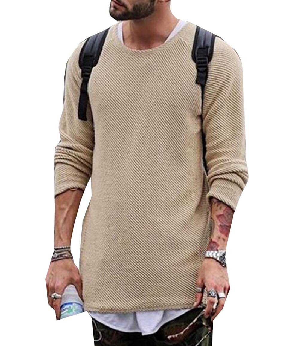 RDHOPE-Men Round Neck Solid Casual Blouse Long Sleeve Pullover Knitwear