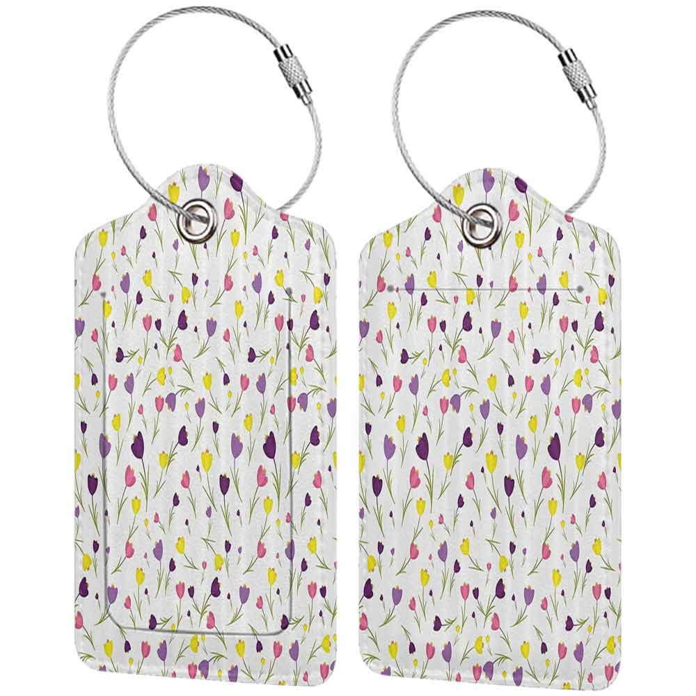 Personalized luggage tag Flower Decorations Limitless Tiny Little Tulip Motifs over Plain Backdrop Seasonal Romantic Concept Easy to carry Purple Yellow W2.7 x L4.6
