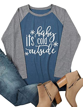 8485b6f40 Amazon.com: Baby It's Cold Outside Shirts for Women 3/4 Sleeve Graphic Christmas  Raglan Baseball Tee Shirt Top Plus Size: Clothing