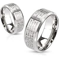 Lord's Prayer Laser Etched Brushed Finish Stainless Steel Ring with Cross