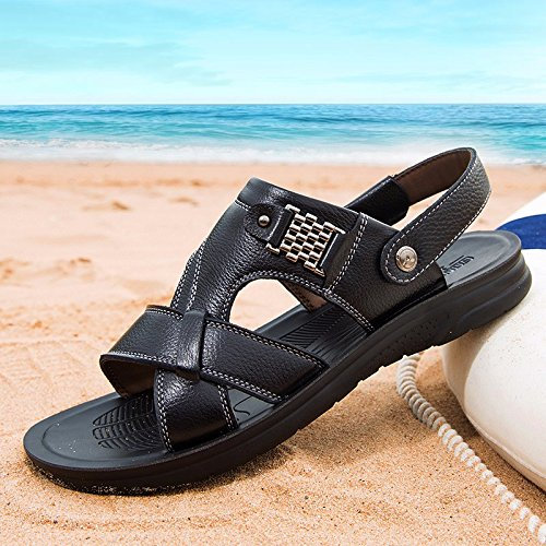 Männer Sandalen Sommer Echtleder Strand Schuh Freizeit Schuh Das neue Echtleder Dicker Boden Rutschfest Sandalen Männer Schuh ,schwarz,US=7,UK=6.5,EU=40,CN=40