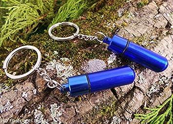 2 x EDC azul metálico alijo llaveros con magnesio polvo almacenamiento para supervivencia en: Amazon.es: Deportes y aire libre