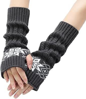 Bullidea Women Lady Wrist Arm Warmer Winter Knitted Long Fingerless Gloves Creative Design(Dark Blue)