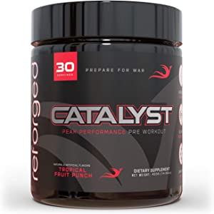Reforged Catalyst   Nootropic Pre Workout Supplement   Preworkout Nitric Oxide Energy Booster w/ Beta-Alanine, Caffeine, L-Theanine, L-Citrulline, & Mucuna Pruriens   Tropical Fruit Punch, 30 Servings