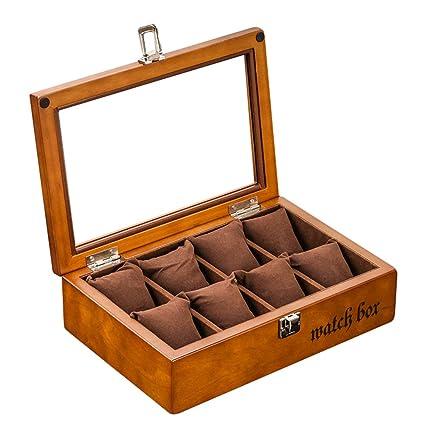 JUNMYEON Caja para Relojes De Madera con 8 Compartimentos En Madera con Acabado Piano