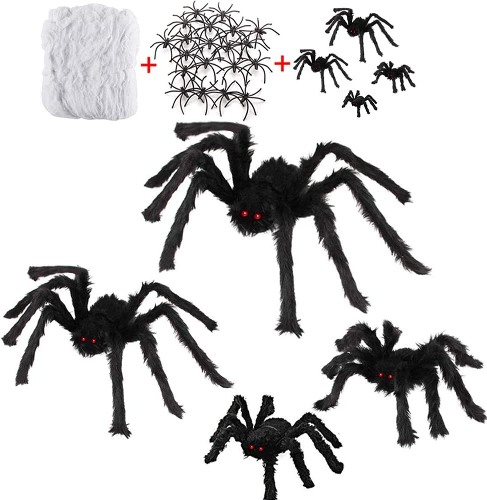 "6 Pack Halloween Decorations with 30"" Giant Spider + 23"" Halloween Spider + 20"" Hairy Spider + 12"" Scary Fake Spider + 400 sqft Spider Web + 20 Small Spiders for Indoor Outdoor Halloween Decorations"