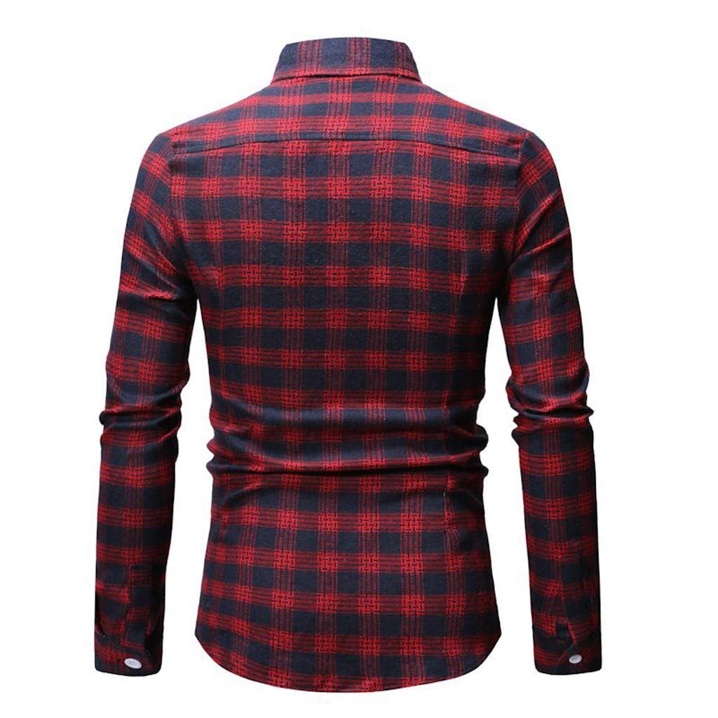 Pocket Stand Collar Button Down Long Sleeve Office Undershirt Masculinous Tops Plaid Shirts for Men