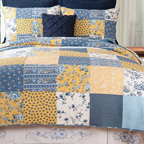 C&F Home Lydia Floral Patchwork Spring Easter Summer Blue Yellow Reversible Machine Washable Sham King 3 Piece Quilt Set King Quilt Set Blue