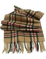 Children's Pure Cashmere Tartan Scarf, Camel Thomson