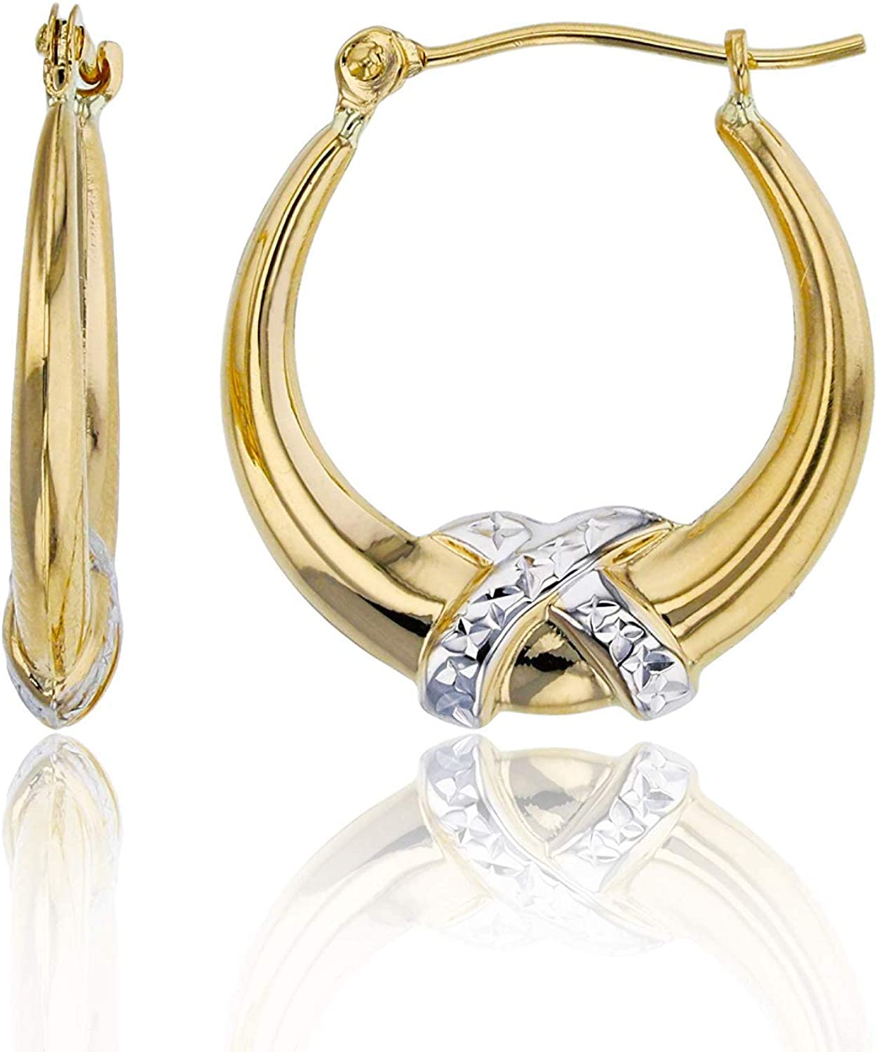 14K Yellow Gold 3mm Thick High Polished Knot Hoop Earrings with Hinged Clasp | Yellow Knot and White Knot Hoops | 3x18mm Hoop | Earrings For Sensitive Ears | Solid Gold Earrings For Women and Girls