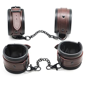 Scarlet Kitten Black Brown Leather Padded Bondage Sex Restraints Kit Fetish  Gear Handcuffs and Ankle Cuffs