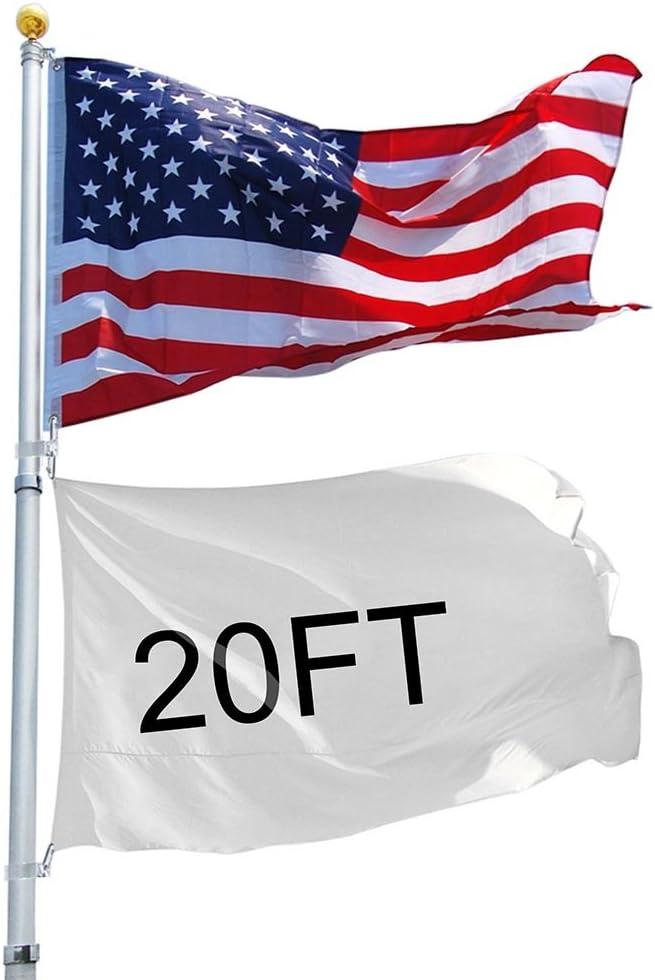 20/'//25/' Flag Pole Aluminum Telescopic Flagpole Kit U.S Flag Ball Fly 2 Flags