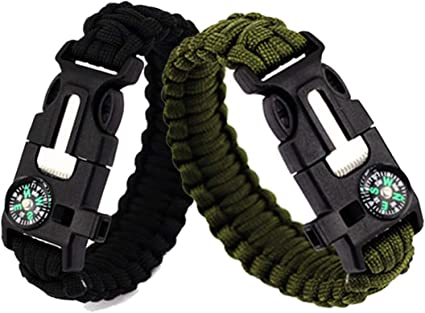 9/'/' Survival Paracord Bracelet Flint Fire Starter Scraper Whistle Compass Ocean