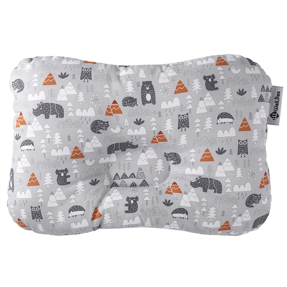 Baby Pillow for Newborn Breathable 3D Air Mesh Organic Cotton, Protection for Flat Head Syndrome Zootopia Grey