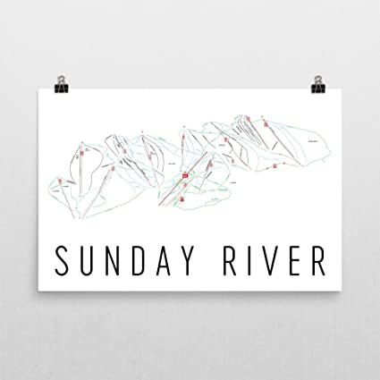 Skiing New England Map.Amazon Com Sunday River Poster Sunday River Ski Resort Poster