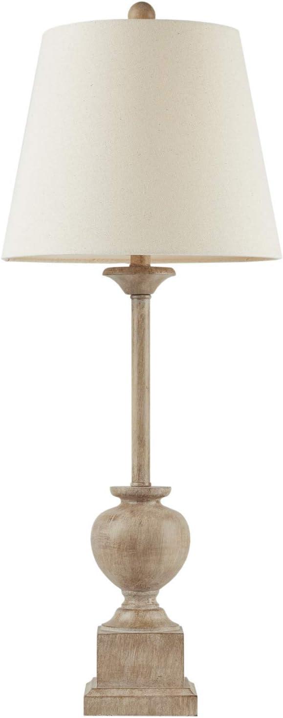 "MARTHA STEWART Klein Table Lamp Living Room Decor - Slender Base, Tapered Drum Shade, Modern Home Office Desk Lighting, Nightstand Reading Light for Bedroom, 12"" X 12"" X 32"", Brown, 12""Wx12""Dx32""H"