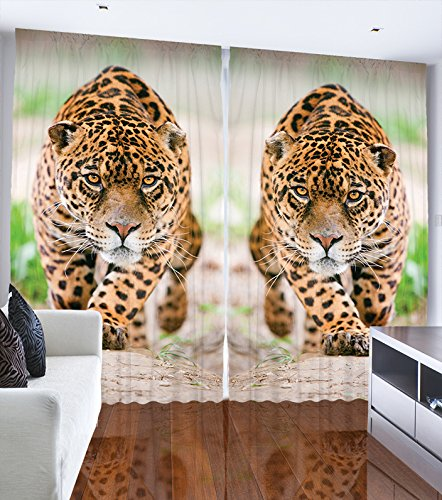 Ambesonne Curtains and Drapes Animal Print Decor by, Leopard Jungle Wildlife African Desert Safari Bedroom Living Dining Kids Girls Boys Room 2 Panels Window Set, 108 X 90 Inches Yellow Green Beige