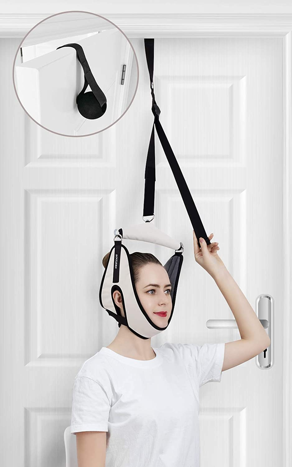 Cervical Neck Traction Device, Neck Stretcher for Pain Relief, Over Door Cervical Traction for Cervical Spine, Neck Traction Device for Chronic Neck Pain, Arthritis, Disc Bulge