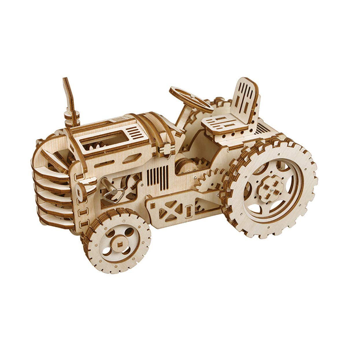 TuToy Diy 3D Wooden Tractor Puzzle Model Kit Mechanical Gears Brain Teaser Desktop Decorations Birthday Gift