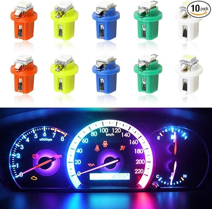 10X T5 B8.5d Car Gauge 5050 1SMD 12V Green LED Dashboard Dash Side Light Bulbs