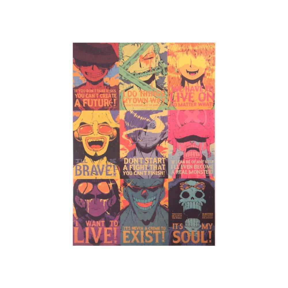 Anime Clásico One Piece Colección De Personajes Clásicos Poster Kraft Paper Bar Cafe Decoración Etiqueta De La Pared 50.5X35Cm