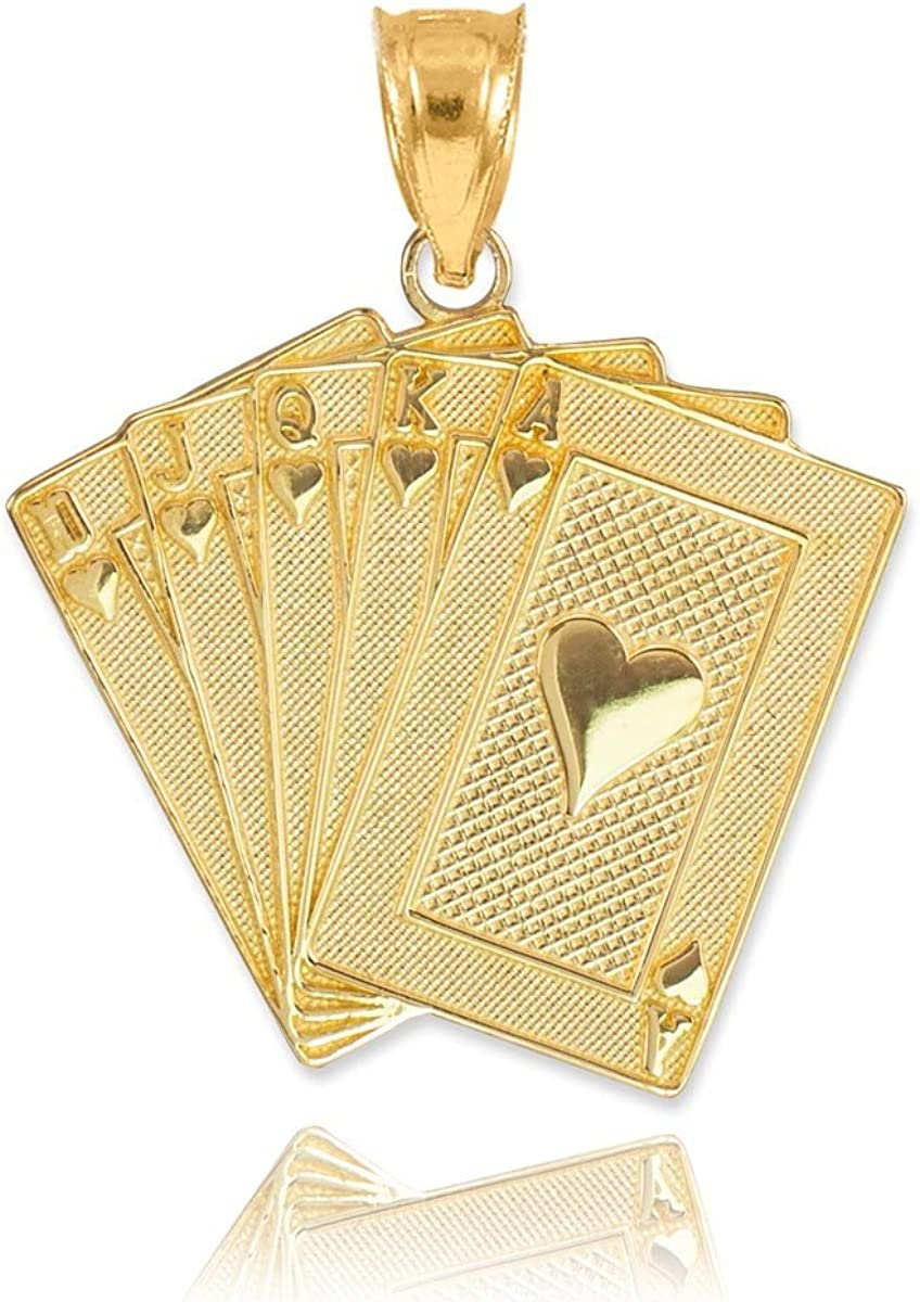 Mens Fine Jewelry Solid 14k White Gold Royal Flush of Hearts Poker Pendant Necklace