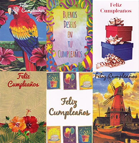 - Assorted Spanish (Feliz Cumpleanos) Birthday Greeting Cards 36 Pack