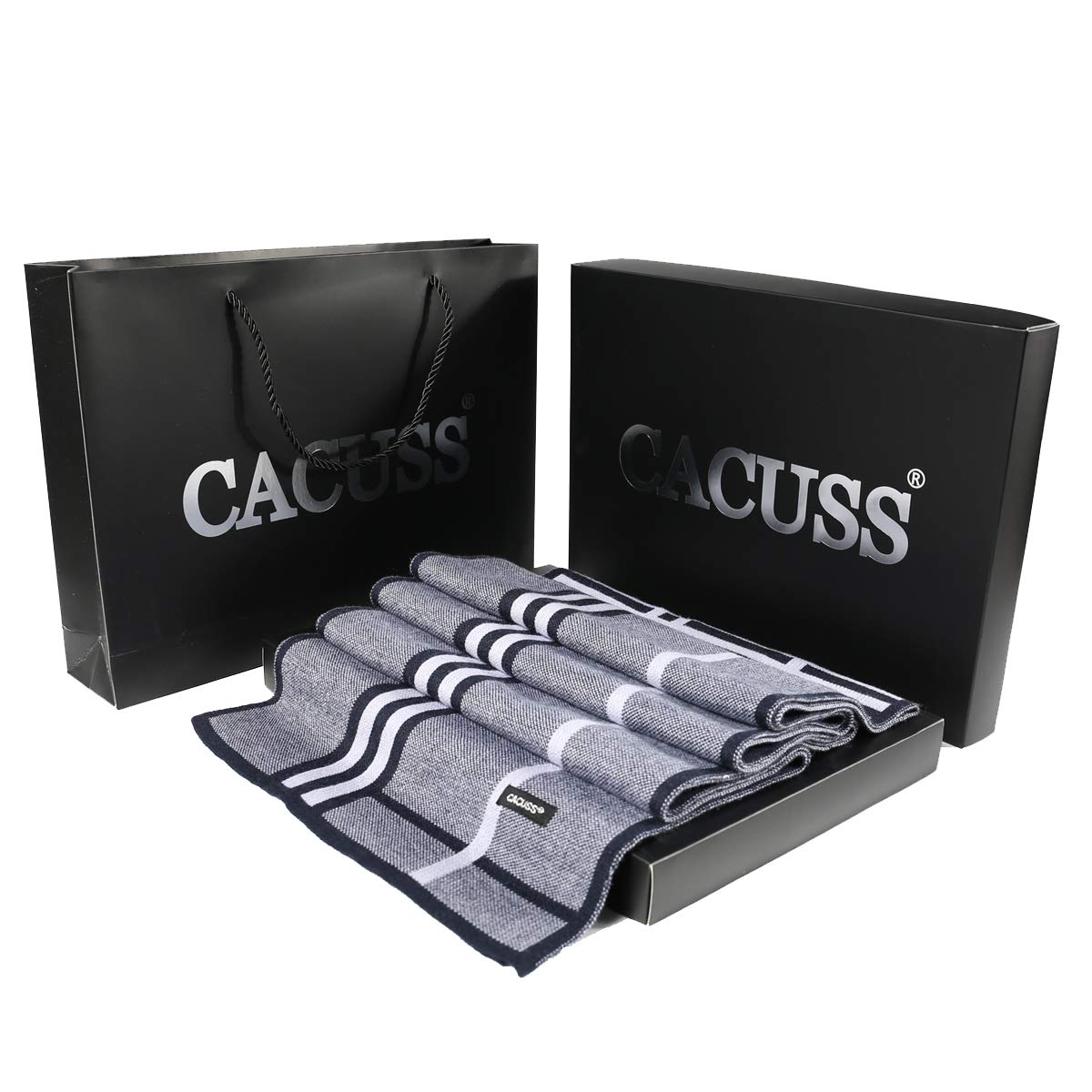 CACUSS Wool Scarf for Men, Winter US Version Mens Scarf,Striped Business Collar for Autumn and Winter with Quality Gift Box, Anti-wrinkle Free, Size 70.74×12.58 Inches (Navy)