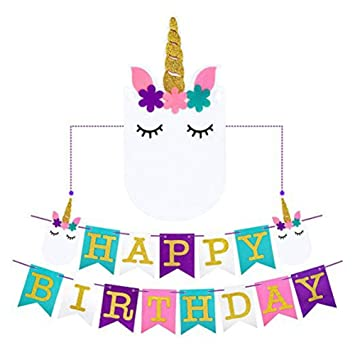 Amazon.com: eixja unicornio guirnalda para fiesta de feliz ...