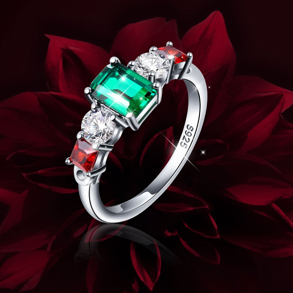 Vintage Elegant Jewelry 925 Sterling Silver Green and Red Cz Ring for Mom Size 9 by SILVER MOUNTAIN (Image #4)