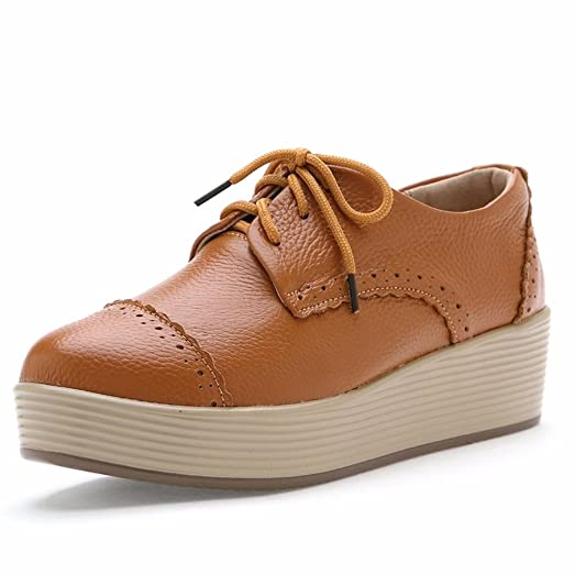 Moonwalker Zapatos con Cordones de Cuero Mujer Oxford Cuña (EUR 39,Beige)