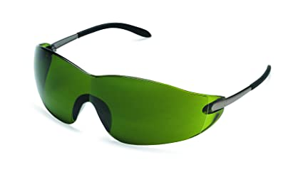 ada2316151ed Image Unavailable. Image not available for. Color  MCR Safety S21130  Blackjack Safety Glasses with Chrome Metal Temple and Green 3.0 Lens