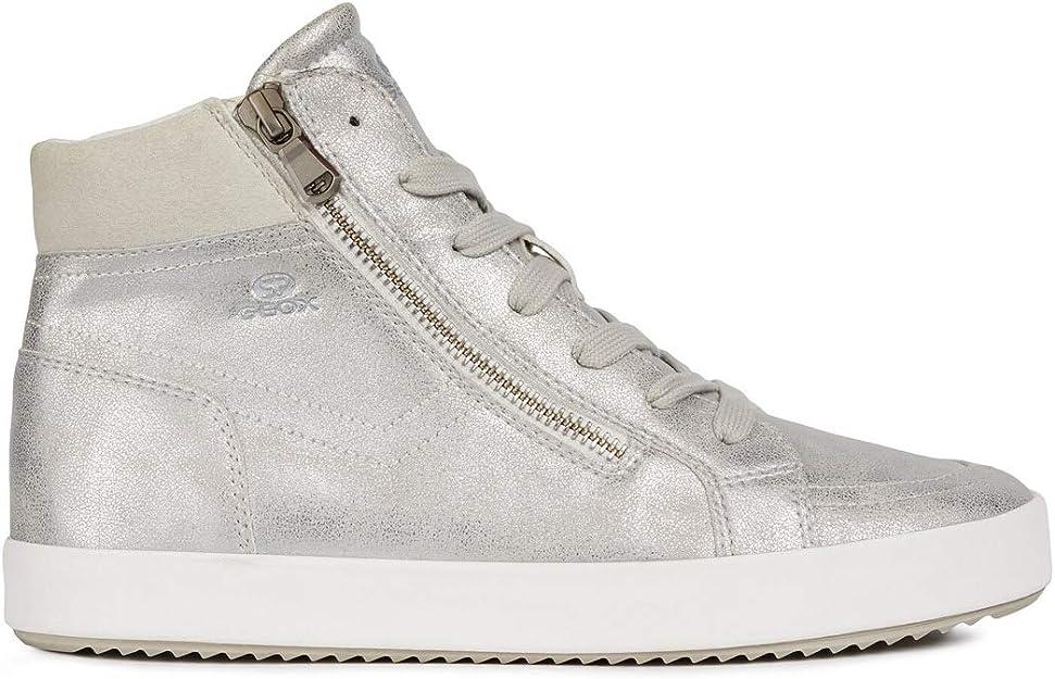 Sneakers per donna Geox in pelle argento con lacci e lampo