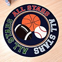 MAXYOYO Diameter 39 Inch Round Basketball Baseball Pattern Area Rug Boys Room