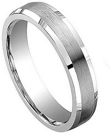 Cobalt Ring Brushed Finish with Shinny Beveled Edge Ring 8mm