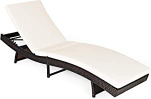 RELAX4LIFE Chaise Lounge Chair Recliner Patio Adjustable Folding Reclining Wicker Chair with 5 Backrest Positions, Removable Upholster for Pool, Garden Outdoor PE Rattan Reclining Chair (1, White)