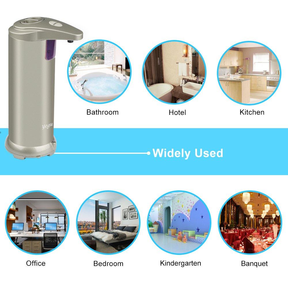 YEGU Dispensador de jabón automático infrarrojo, dispensador de jabón de acero inoxidable balayé par sonda Touchless con la base impermeable para la cocina ...