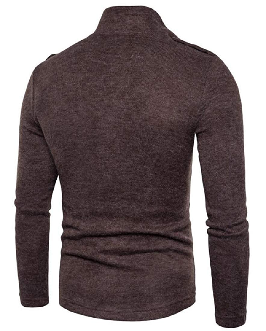 YONGM Mens Slim Fit Multi-Pocket Solid Button Down Knit Sweater