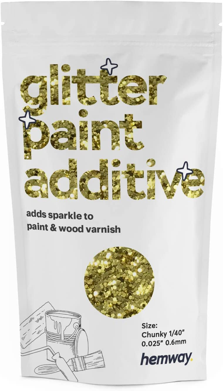 Hemway Glitter Paint Additive Chunky 1 40 0 6mm Emulsion Acrylic Water Based Paints Wall Ceiling 100g 3 5oz Sand Gold Amazon Com